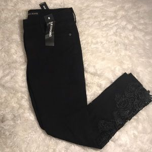 🆕 Express Black Ankle Legging Jean Lace Hem Sz 8